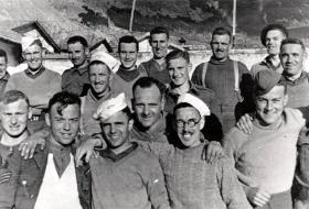 Smiling members of X Troop as PoWs captured at Tragino in 1941.