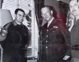 CQMS Pete Smurthwaite meeting Gen Sir James Cassels Cyprus 1964