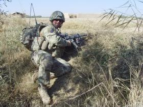Sgt Blakey on patrol during Op Herrick XIII, Afghanistan, c2011.