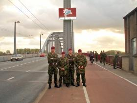 Soldiers from 2 PARA on a visit to John Frost Bridge, Arnhem