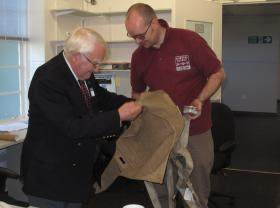 Sonny Royan explains the workings of the X Type 'chute to the curator, Duxford, 2010