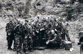 Members of Support Coy, 2 PARA, on jungle training Belize, 1987.