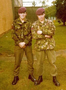 John 'Spanner' McDonald and Greg Allen, 1 PARA,  South Cerney, c1979.