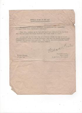 Special Order Notice from Maj Gen Richard Gale, 11 June 1944.
