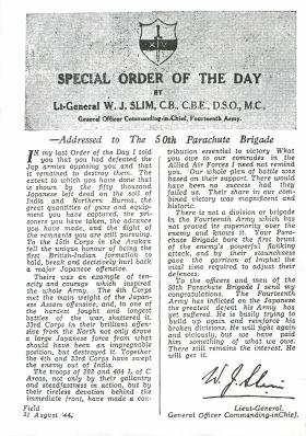 Special Order of the Day addressed to 50th Indian Parachute Brigade