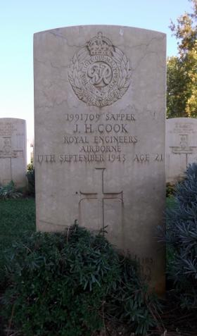 The grave of Sapper 'Joe' Cook, Bari War Cemetery, date unknown.