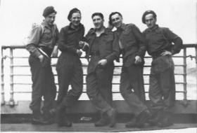 Ginger, Herbie, Mort, Abdull & PFC - SS Cameronian - en route to Palestine 1945