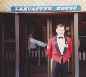 SSgt Bill Bentley MM outside Lancaster House, 1988