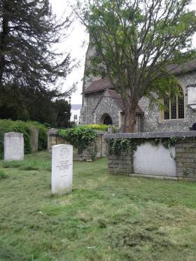 Driver Ralph Evans' Headstone, St Mary's Church, Walton on Thames, 2012.