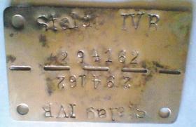 Prisoner of War Dog Tag for Pte Connold, Stalag IVB, Muhlberg, 1944.