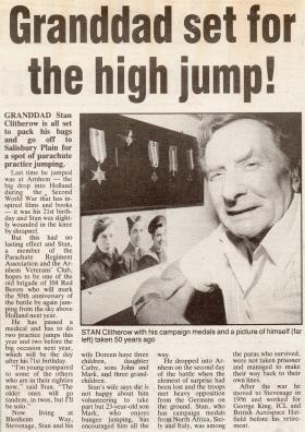 Newspaper cutting about the 50th Anniversary of Arnhem, from 1993.