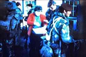 Paras with islander, Stanley, Falklands, 1982.