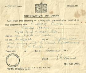 Stanley Cooper's notification of death
