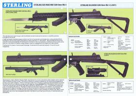 Sterling SMG brochure showing standard and silenced variants, c1980
