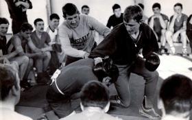 Pte Stephen Burns versus Pte 'Jock' Hood, Milling on JNCO's Cadre, Ballykinler, c1979.