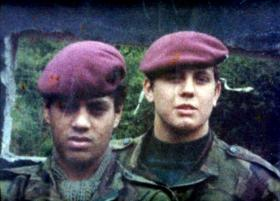 Steve Lewis and Mick 'Albert' Smith, 1 PARA, Omeath South Armagh 1978.