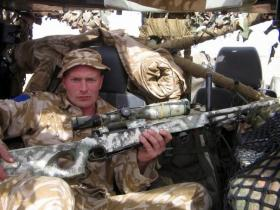 Pte Steve Lewis with a L96A1 Sniper Rifle, 2 PARA, Iraq, 2005.