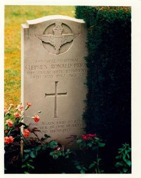 Corporal Stephen Prior's gravestone.