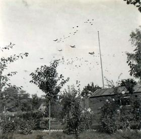 Four-engined Stirlings dropping supplies by parachute to Airborne Forces.