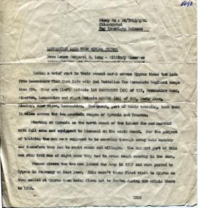 Lancashire Lads Trek Across Cyprus, press release on Ptes Farnworth and Mercer, 2 PARA, 1959.