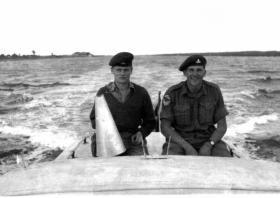 Sgt Bushell commanding a pilot boat in Suez, 1956.