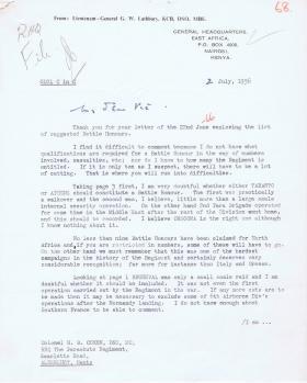 Letter regarding suggested Battle Honours, 2 July 1956.