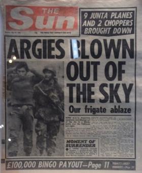 Sun Newspaper Front Page, Falklands campaign 1982