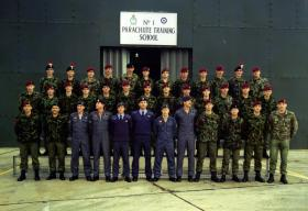 Group photo of Parachute Course 980 at No1 Parachute Training School, RAF Brize Norton, October 1989.