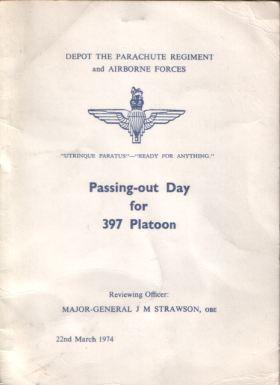 Passing-out Day Booklet for 397 Platoon, March 1974