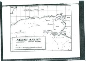 Map of North Africa, background for airborne missions.