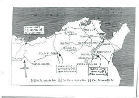 Map of North Africa showing landing zones of 1st, 2nd and 3rd Parachute Battalions, 1942.