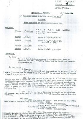 1st Parachute Brigade Operation Instruction No. 2. Plan X, October 1942.