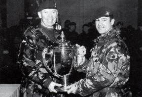 Col Rutherford presents Maj Ward with the Champion Company Trophy, 4 PARA, 1999.