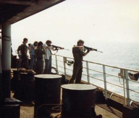 Target practice from the MV Norland, 1982