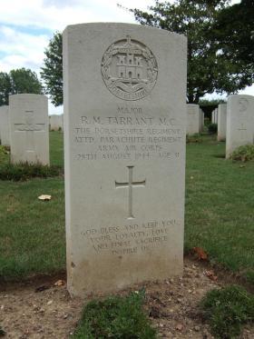 Headstone of Major RM Tarrant, La Delivrande War Cemetery, 2010.