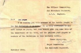 Letter form Major A Digby Tatham-Warter DSO to Pte Stephen Morgan's mother, November 1944.