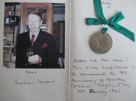 Signed card with a half crown from Tony Deane-Drummond to Harry Pexton, to commemorate Op Colossus, 2000