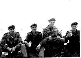 Members of F (Sphinx) Bty on a tea break, 7 Para Lt Regt RHA, Bahrain c1963.