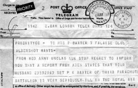 Official Telegram regarding the wounding of Sgt Baxter