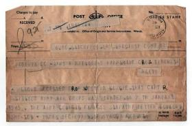 Official Casualty Telegram reporting the wounding of Capt Midwood, Ardennes, 1945.