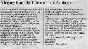 Letter in The Telegraph, September 2014.