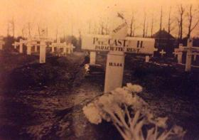 Temporary wooden cross for Private Harry Cast, Oosterbeek Cemetery, 1946.