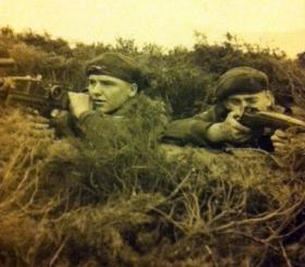 Pte Terry Miller with the Bren gun, other unknown, date unknown.