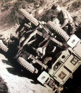 Pte Terry Miller involved in a RTA while on anti terrorist duty, Troodas Mountains, Cyprus, September 1958.