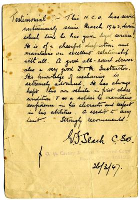 Testimonials to Sgt Edwin Jack