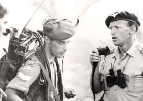 Lt Col AH Farrar-Hockley DSO MBE MC, during a contact with tribesmen, Radfan, 1964