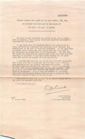 Message of thanks from Maj Gen Cassels to all involved in search of Tel Aviv, August 1946.