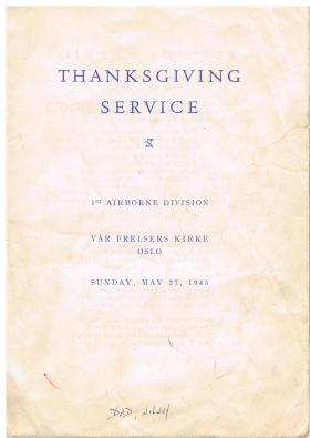 Booklet for Thanksgiving Service , Oslo, 27 May 1945