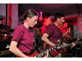 The Band of The Parachute Regiment performs in the 'Dutch Corner' (Dutch welfare facility) in Kandahar, 2011