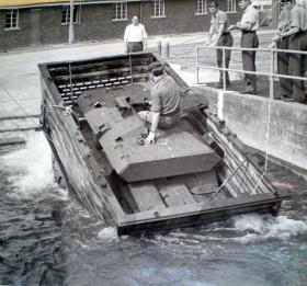 Ferret Swingfire undergoing fording trials, Instow, 1971.
